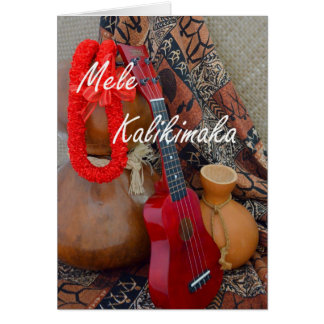 Mele Kalikimaka with Red Ribbon Lei Card