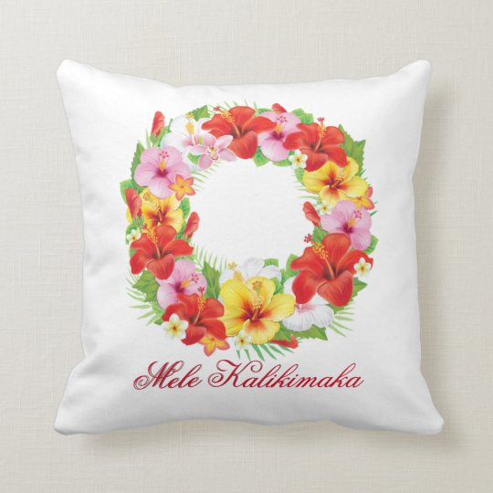 Mele Kalikimaka Wreath Personalize Throw Pillow