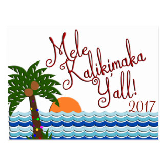 Mele Kalikimaka Y'all Christmas Beach Postcard