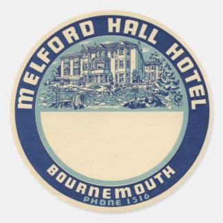 Melford Hall Hotel Classic Round Sticker
