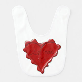 Melissa. Red heart wax seal with name Melissa Bib