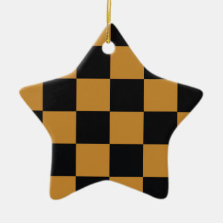 Mellow Mustard Checkerboard Ceramic Ornament