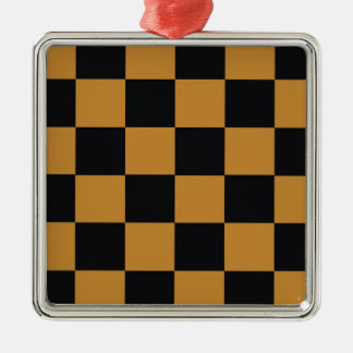 Mellow Mustard Checkerboard Metal Ornament