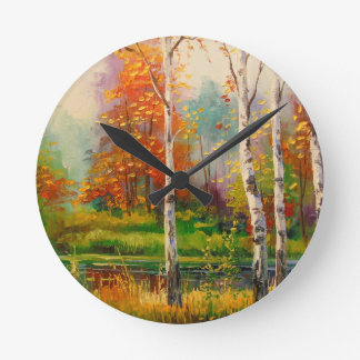 Melody of autumn round clock