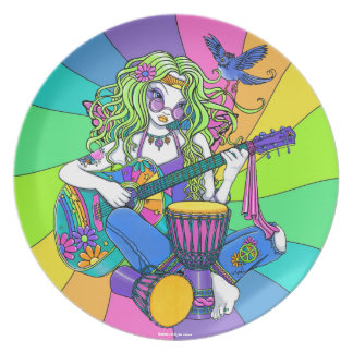 """Melody"" Rainbow Guitar Hippie Fairy Art Plate"