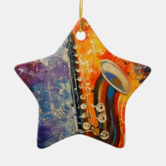 Melody saxophone ceramic star ornament