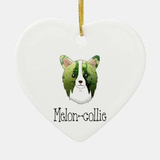melon collie ceramic heart ornament