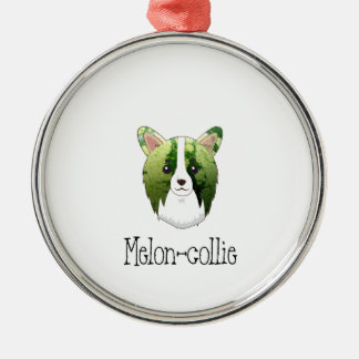 melon collie Silver-Colored round ornament