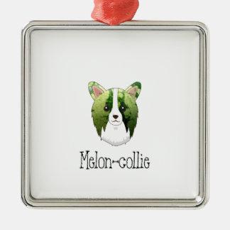 melon collie Silver-Colored square ornament