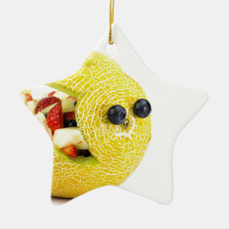 Melon Easter bunny filled with summer fruit Ceramic Star Ornament