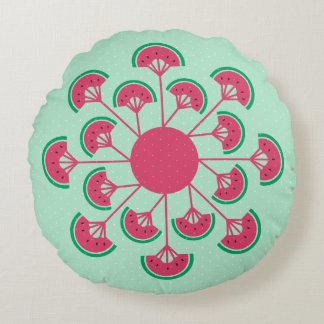 Melon Fleur Fan Pattern Round Pillow