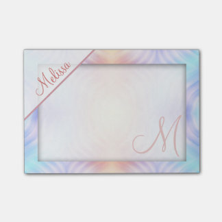 Melon Lavender Yellow Teal Monogram Post-it® Notes