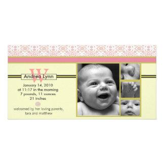 melon tangerine bandana pattern baby announcement photo card