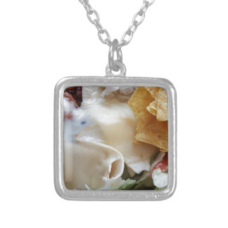Melted Cheese Nacho Funny Food Silver Plated Necklace