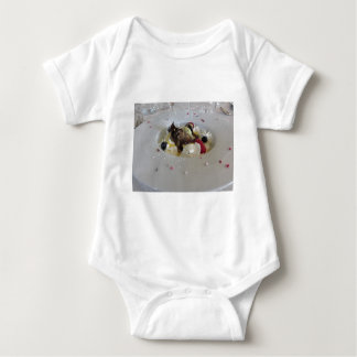 Melted chocolate ball with zabaglione cream baby bodysuit