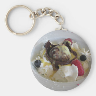 Melted chocolate ball with zabaglione cream basic round button keychain