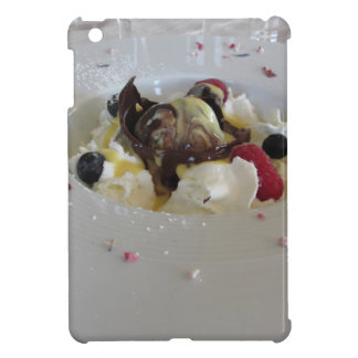 Melted chocolate ball with zabaglione cream case for the iPad mini