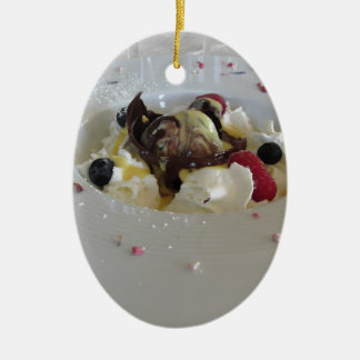 Melted chocolate ball with zabaglione cream ceramic ornament