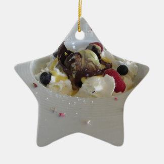 Melted chocolate ball with zabaglione cream ceramic star ornament
