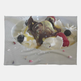 Melted chocolate ball with zabaglione cream kitchen towel