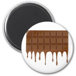 Melted chocolate bar 2 inch round magnet