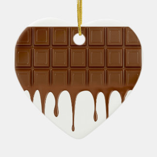 Melted chocolate bar ceramic heart ornament