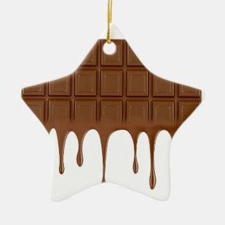 Melted chocolate bar ceramic star ornament