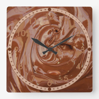 Melted Chocolate Square Wall Clock