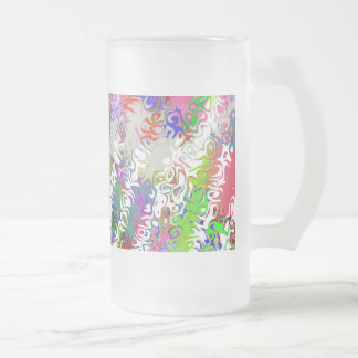 Melted Crayons Abstract Frosted Glass Mug