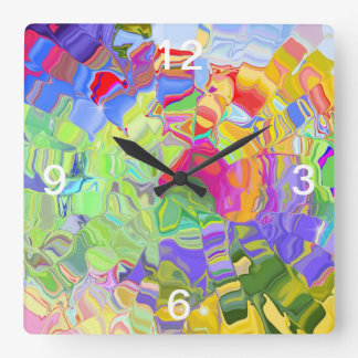 Melted Crayons Square Wall Clock