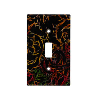Melted Red Orange Green Black Abstract Light Fire Light Switch Cover