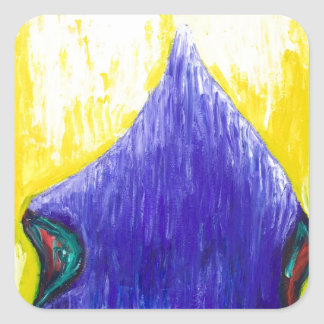 Melting Blue Pope (religious surrealism) Square Stickers