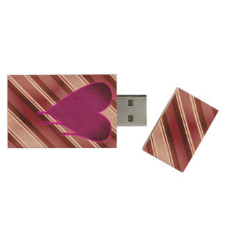 Melting Heart Purple 16GB 2.0 Wood USB Flash Drive