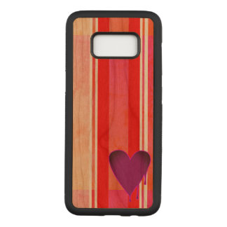 Melting Heart Purple Cherry Hardwood Carved Samsung Galaxy S8 Case