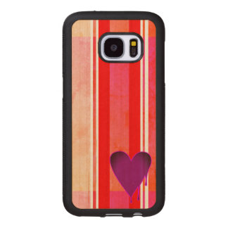 Melting Heart Purple Wood Samsung Galaxy S7 Case