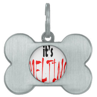 melting ice cream hot summer teenage children red pet ID tag