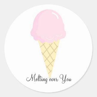 Melting over You - Ice Cream Classic Round Sticker
