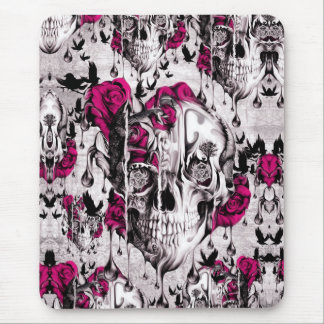 Melting Rose skull in grey and pink Mouse Pad