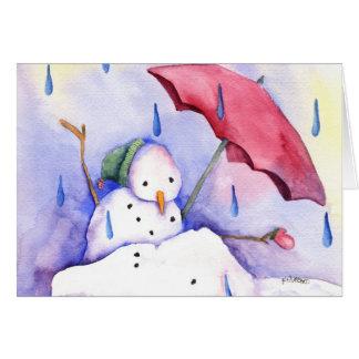 Melting Snowman with Umbrella Card