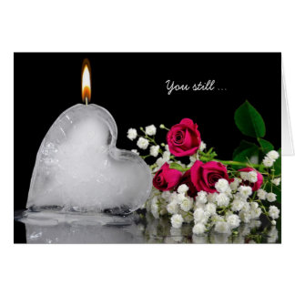 melting valentine ice heart candle and roses card