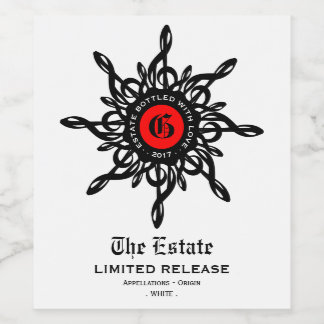 MELTPOINT Ornamental Red Black Treble Clef White Wine Label