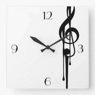 MELTPOINT WHITE Black G-Clef Big Custom Numbers Square Wall Clock