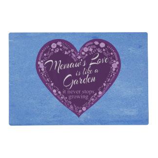 Memaws Love Garden Purple Laminated Place Mat