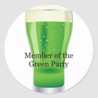 Member of the Green Party Beer St Patrick s Day Stickers