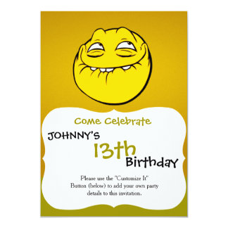 "Meme Face Smiley Emoticon Yelow Funny Head Troll 5"" X 7"" Invitation Card"