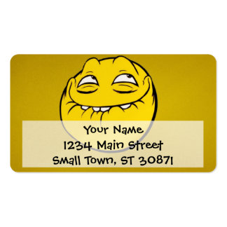 Meme Face Smiley Emoticon Yelow Funny Head Troll Pack Of Standard Business Cards