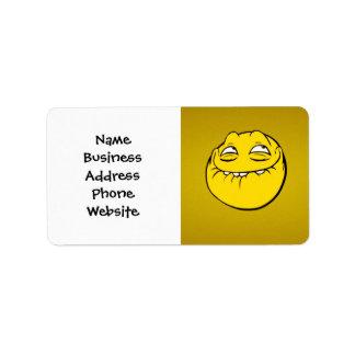 Meme Face Smiley Emoticon Yelow Funny Head Troll Address Label