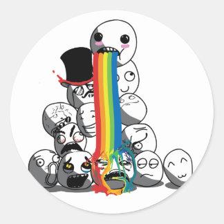 Meme faces rainbow badge classic round sticker