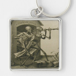 Memento Mori Silver-Colored Square Keychain