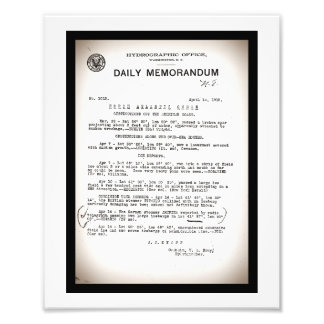 Memo from Hydrographic Office Titanic Disaster Art Photo